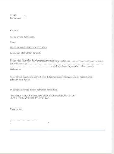 Surat Akuan Bujang Ketua Kampung Pdf Document